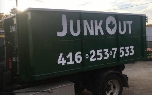 Junk Out bin rental - bin on truck
