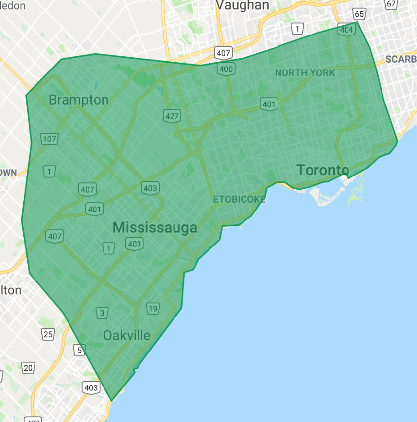 Junk Out Service Area Map - Junk removal Toronto & GTA